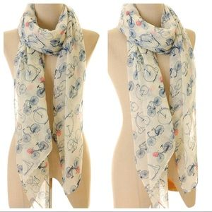 Accessories - Gorgeous bicycle print long viscose scarf